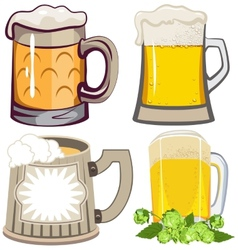 Set of beer mugs vector image vector image