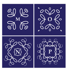 Set of four monogram white on a blue background vector