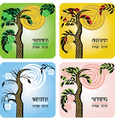Set of four seasons cards vector
