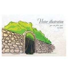 Stone wall in a garden watercolor imitation vector