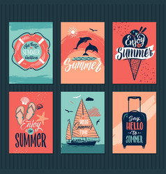 summer tropical postcards or retro posters with vector image vector image