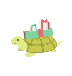 Turtle cute animal character attending birthday vector