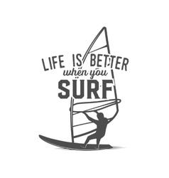 windsurfing badge logo design elements vector image