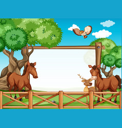 wooden frame with horses and deer vector image vector image