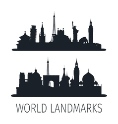 World landmarks isolated silhouettes for wallpaper vector image