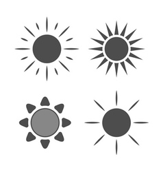Sun icons set gray signs isolated vector