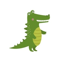 Cartoon green crocodile reptile flat vector