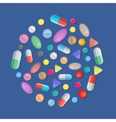 Different colorful medical pills capsules vector image