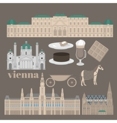 Austrian city sights in vienna austria landmark vector
