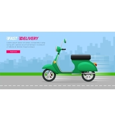 Delivery motorcycle on city road green vehicle vector