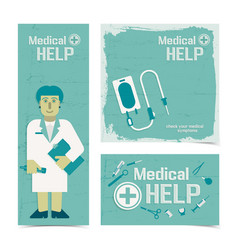 Nursing healthcare banners set vector