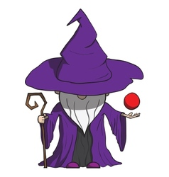 Simple cartoon wizard with staff isolated on white vector