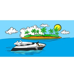 Yacht and island vector