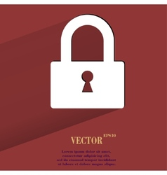 Padlock flat modern web button with long shadow vector