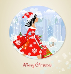 Girl santa with purchase for you design vector