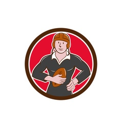 Vintage NZ Rugby Player Hold Ball Circle Cartoon vector image