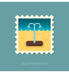 Summer beach pool shower flat stamp vector