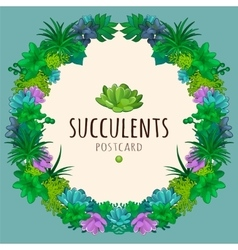 Succulents wreath vector