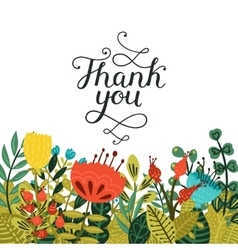 Thank you card with handdrawn lettering vector