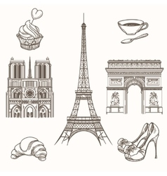 Hand drawn paris symbols vector