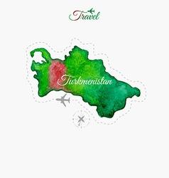 Travel around the world turkmenistan watercolor vector