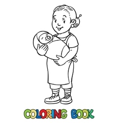 Funny nanny with baby coloring book vector