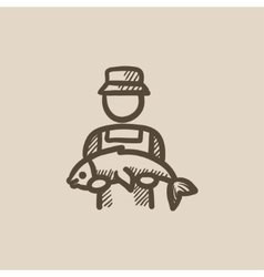 Fisherman with big fish sketch icon vector