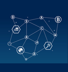 block chain word with icon vector image