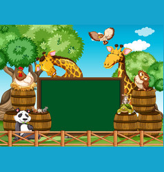 Board template with many animals in the yard vector