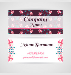business card doodle flowers vector image vector image