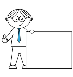 businessman presenting a blank paper vector image vector image