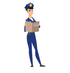 Caucasian police officer holding a police report vector