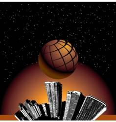 city globe stars vector image