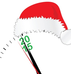 Clock for new year 2015 with hat vector