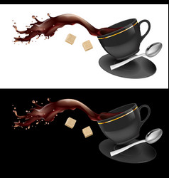 coffee in gray cup on white and black background vector image