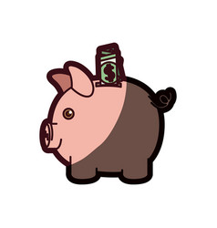 Colorful silhouette of moneybox in shape of pig vector