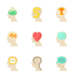 Different thoughts inside man head icons set vector