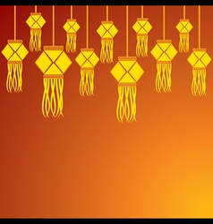Diwali greeting background with hanging lamps vector