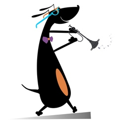 Dog plays on trumpet vector