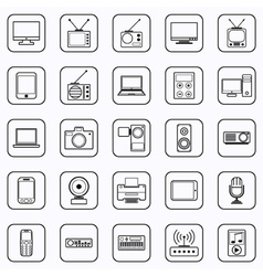 Electronic contour icons vector image