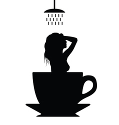 Girl shower in cup of coffee silhouette vector