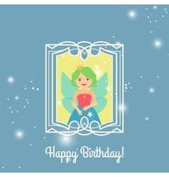 Happy birthday card with cartoon princess vector