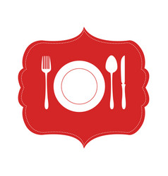 heraldic frame crockery with cutlery vector image