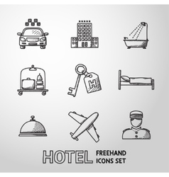 Hotel and service monochrome freehand icons set vector image vector image
