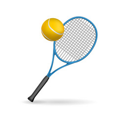 isolated of a tennis racket and ball vector image