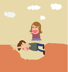 Kindness concept boy help girl crossing hole vector image