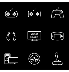 Line video games icon set vector