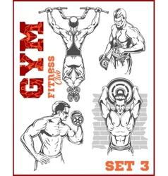 Men - bodybuilders gym bodybuilding vector