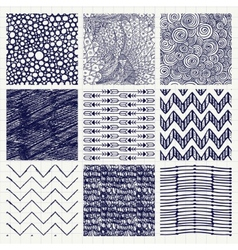 Pen drawing seamless textures vector