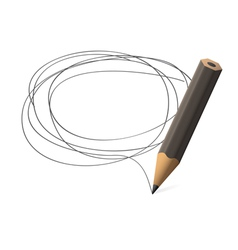 Pencil draws jauntily circle on a white background vector image